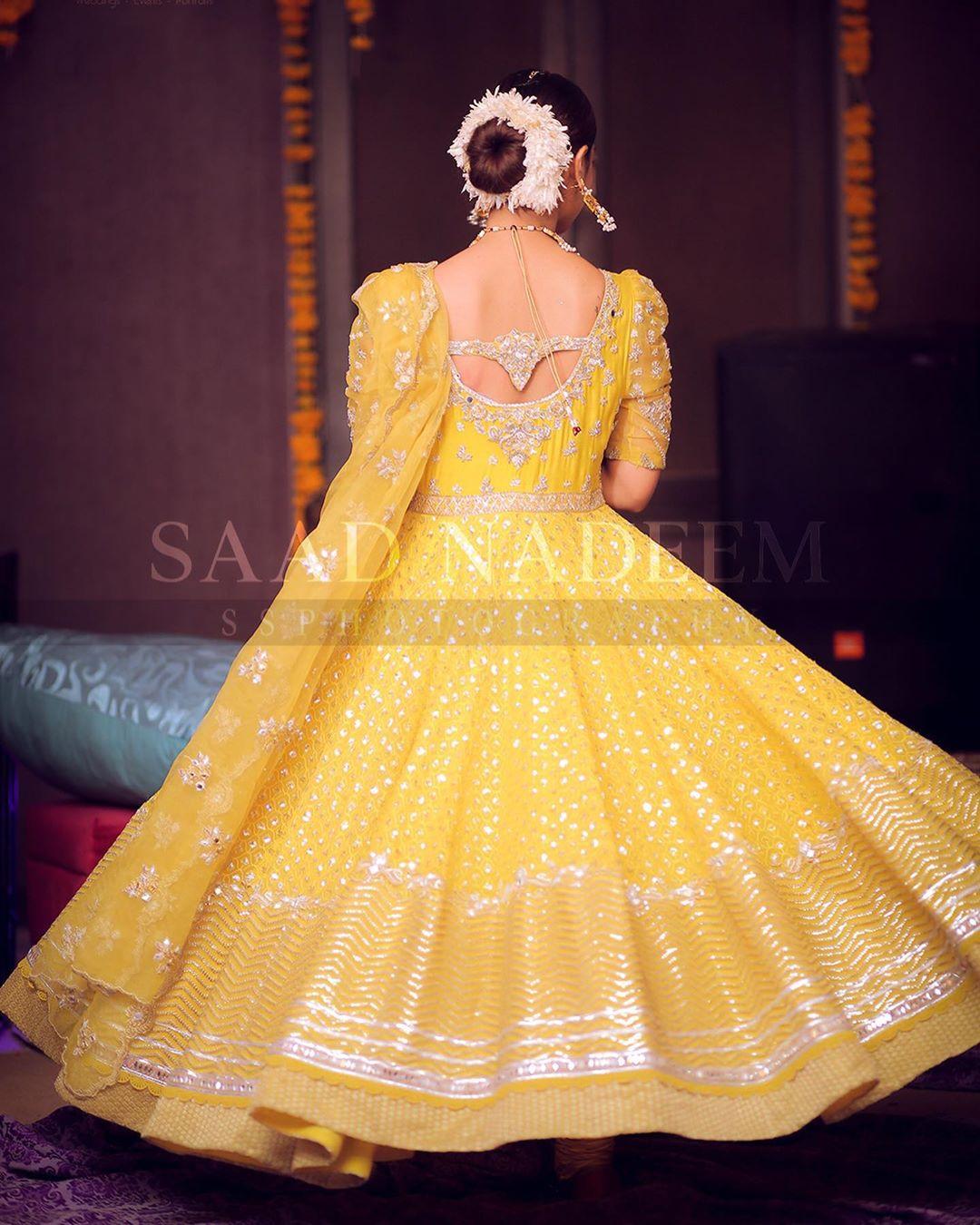yellow mehndi dress for bride