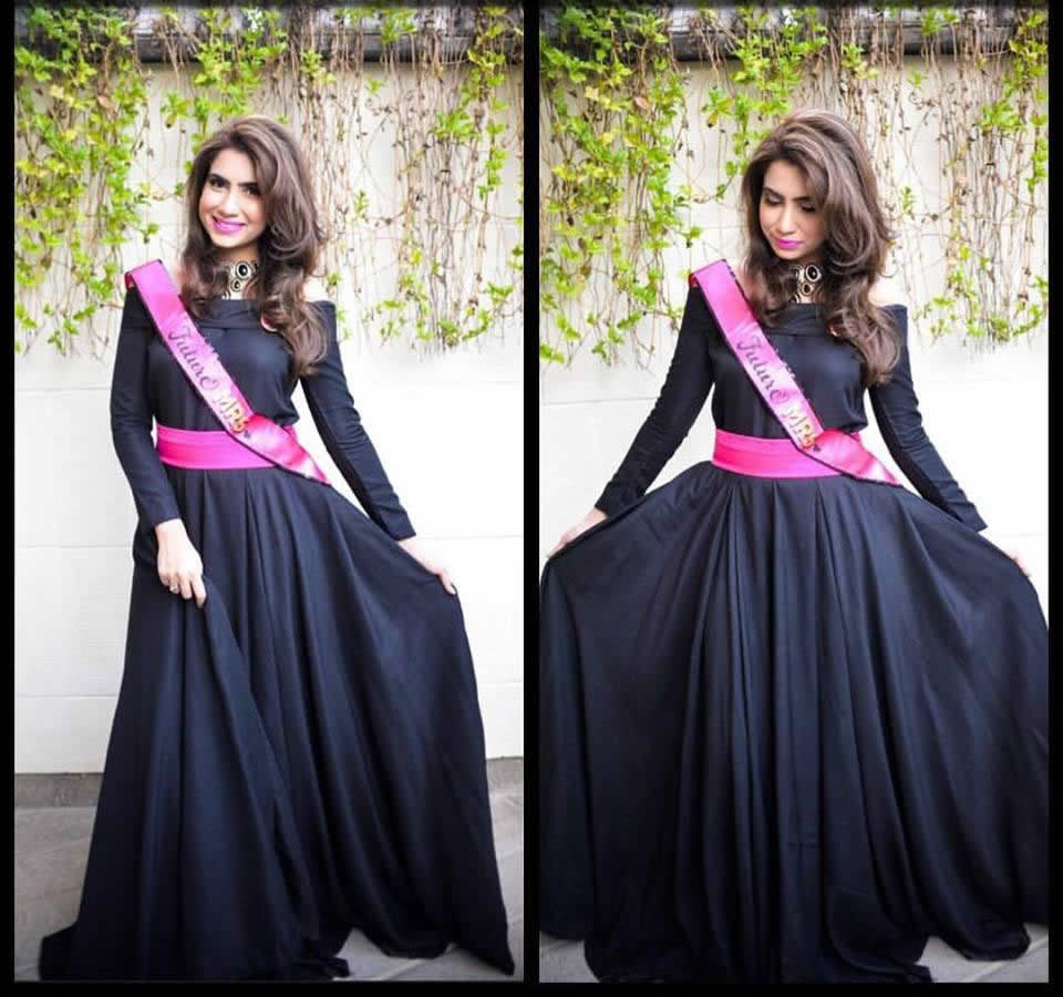 black gown style dress for bridal shower