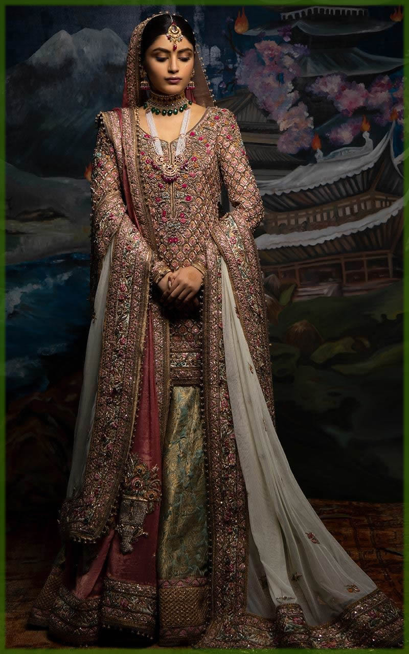 green and red lehenga for bride