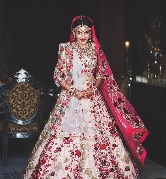 white and pink indian lehenga choli dress