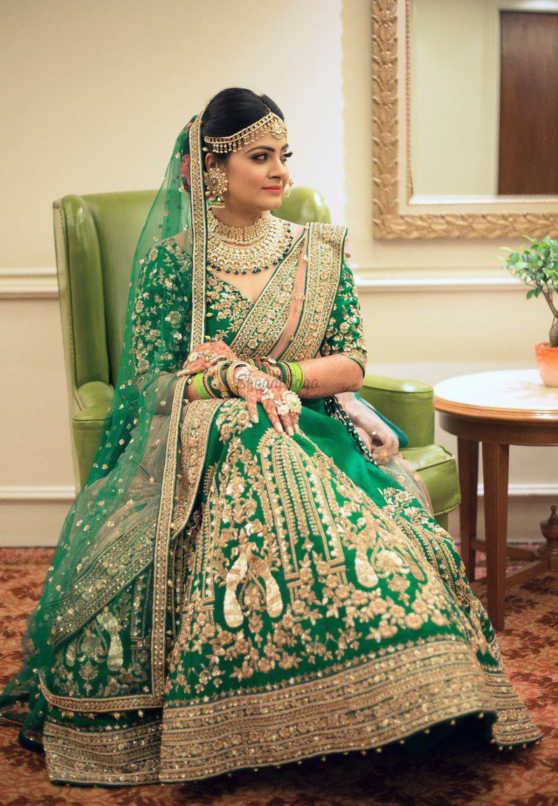 golden green Indian bridal dresses