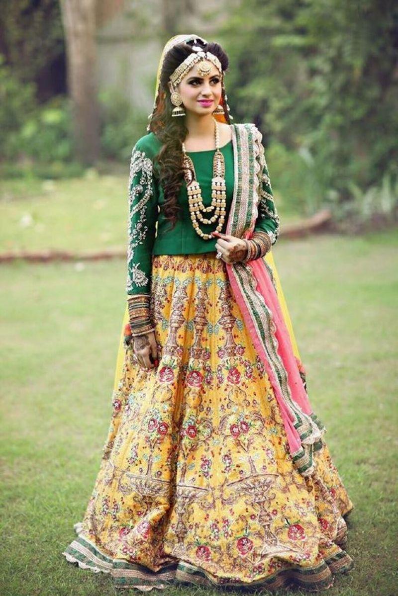greena and yellow bridal mehndi dress
