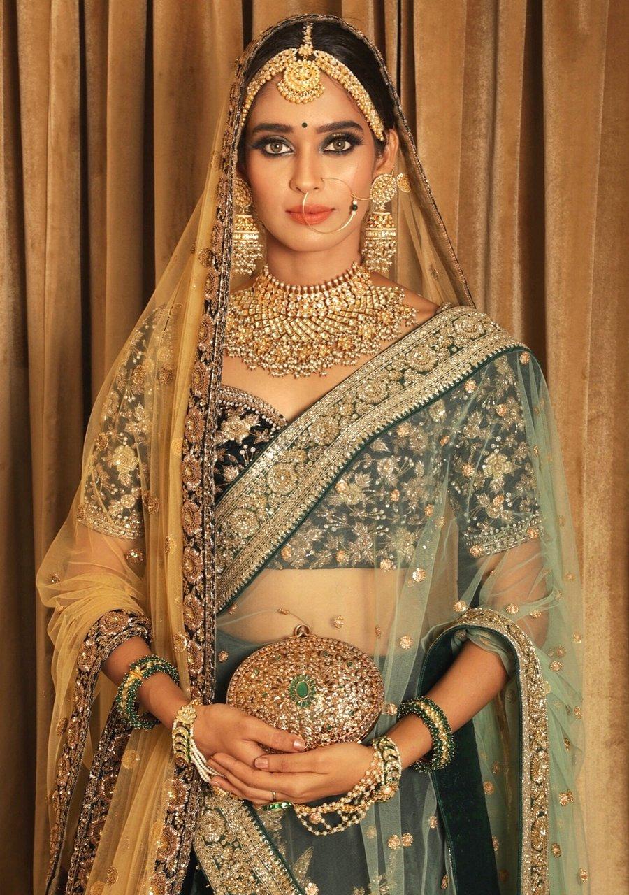 green lehenga choli for indian bride
