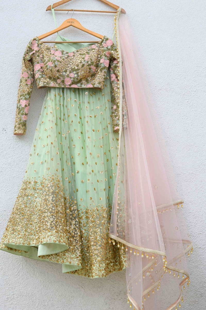indian bridal short blouse dress with lehenga