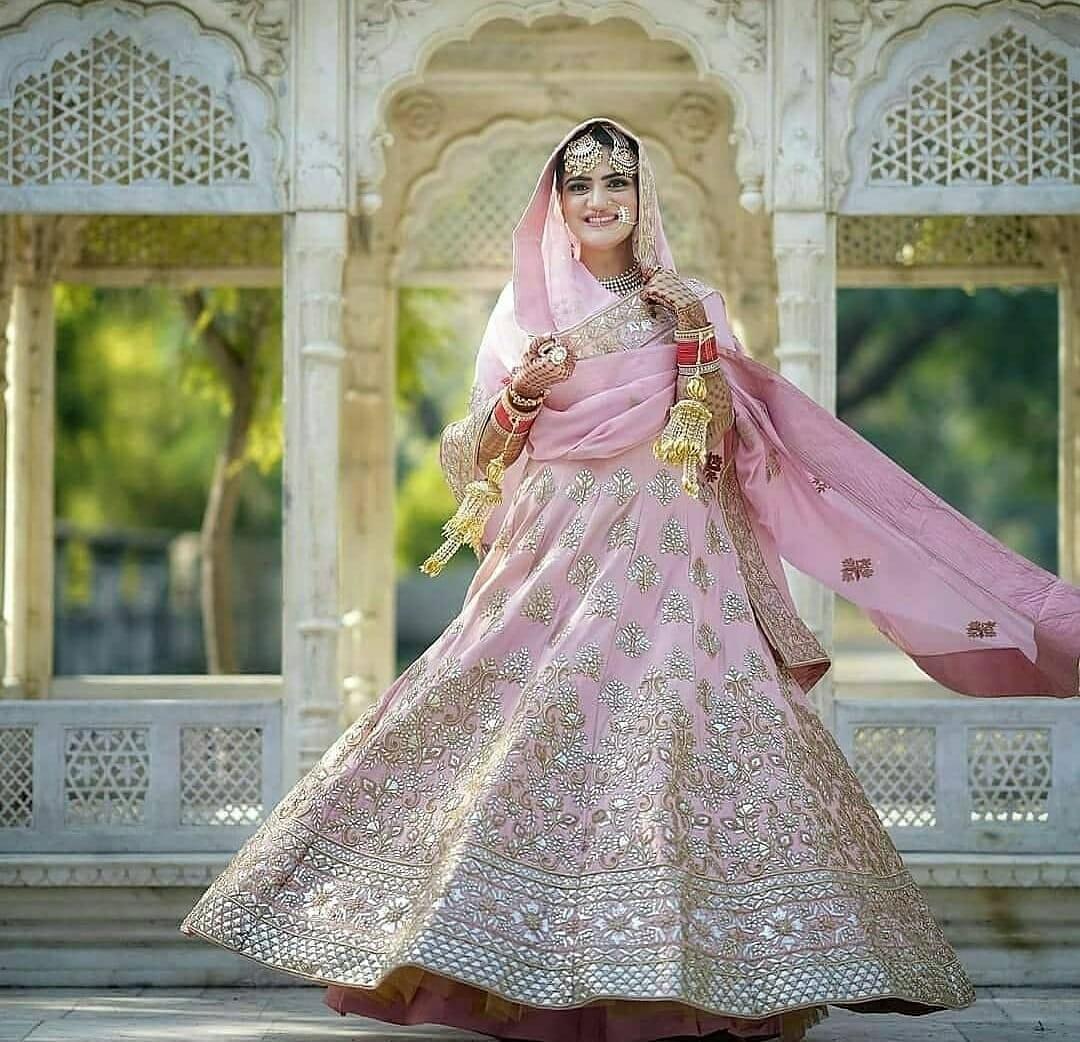 pink evening wear bridal anarkali gown