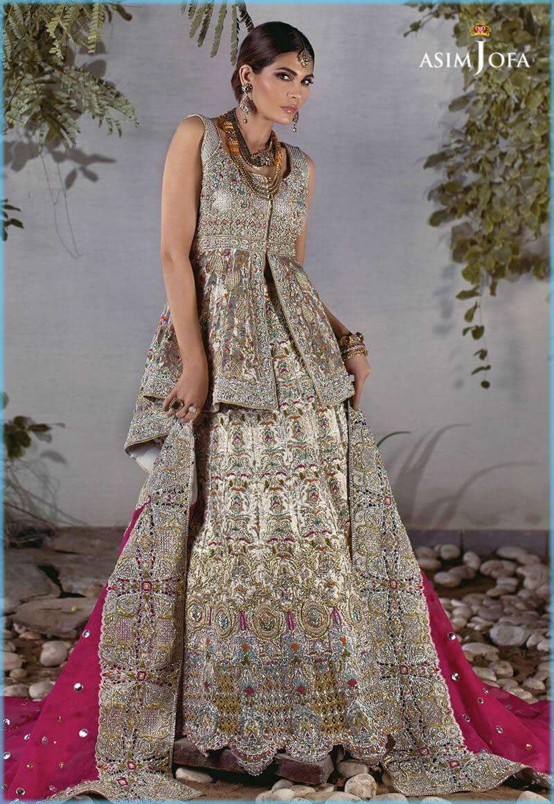 kora work lehenga for bride