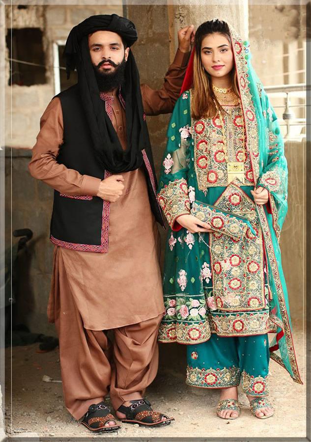 balochi bride and groom dress