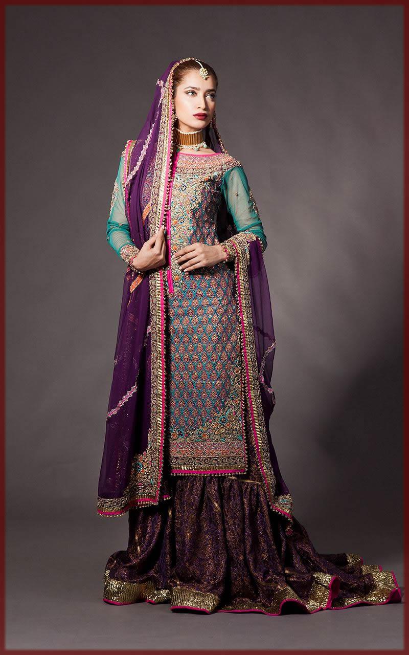 purple sharara collection for bridal barat dresses