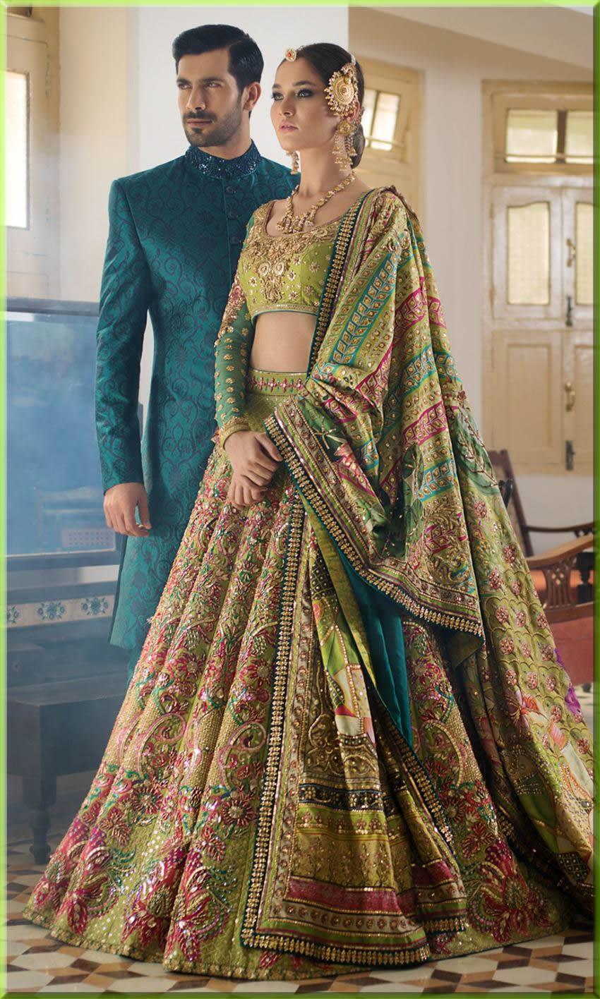 best colour combo for bridal barat dresses