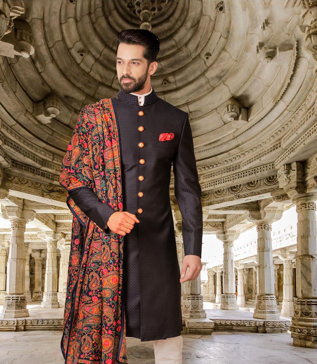 black achkan with multi colour duppata