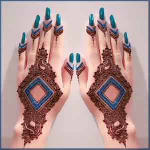 blue glitter mehndi design for bride