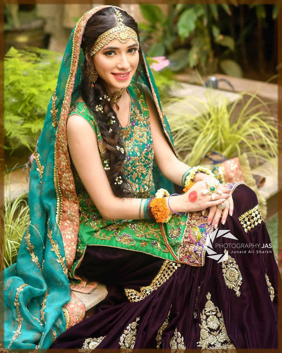 sharara dress for mehndi bride