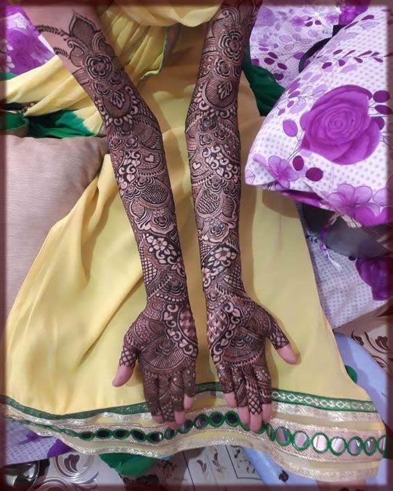 full hands henna design for bride