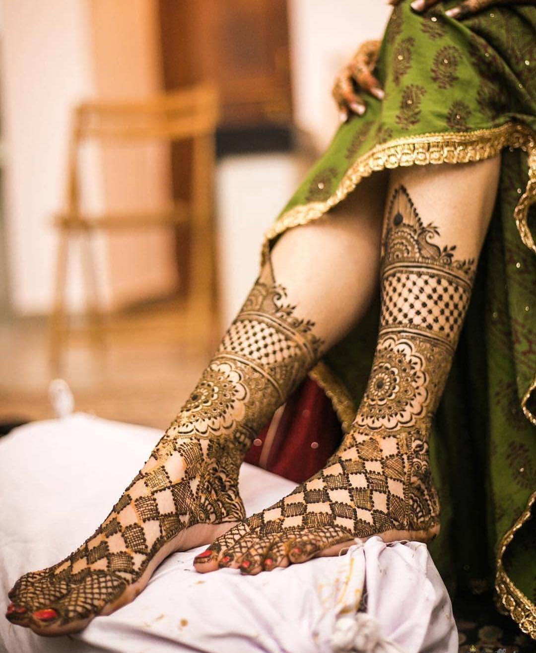 stunning feet mehndi design for bride