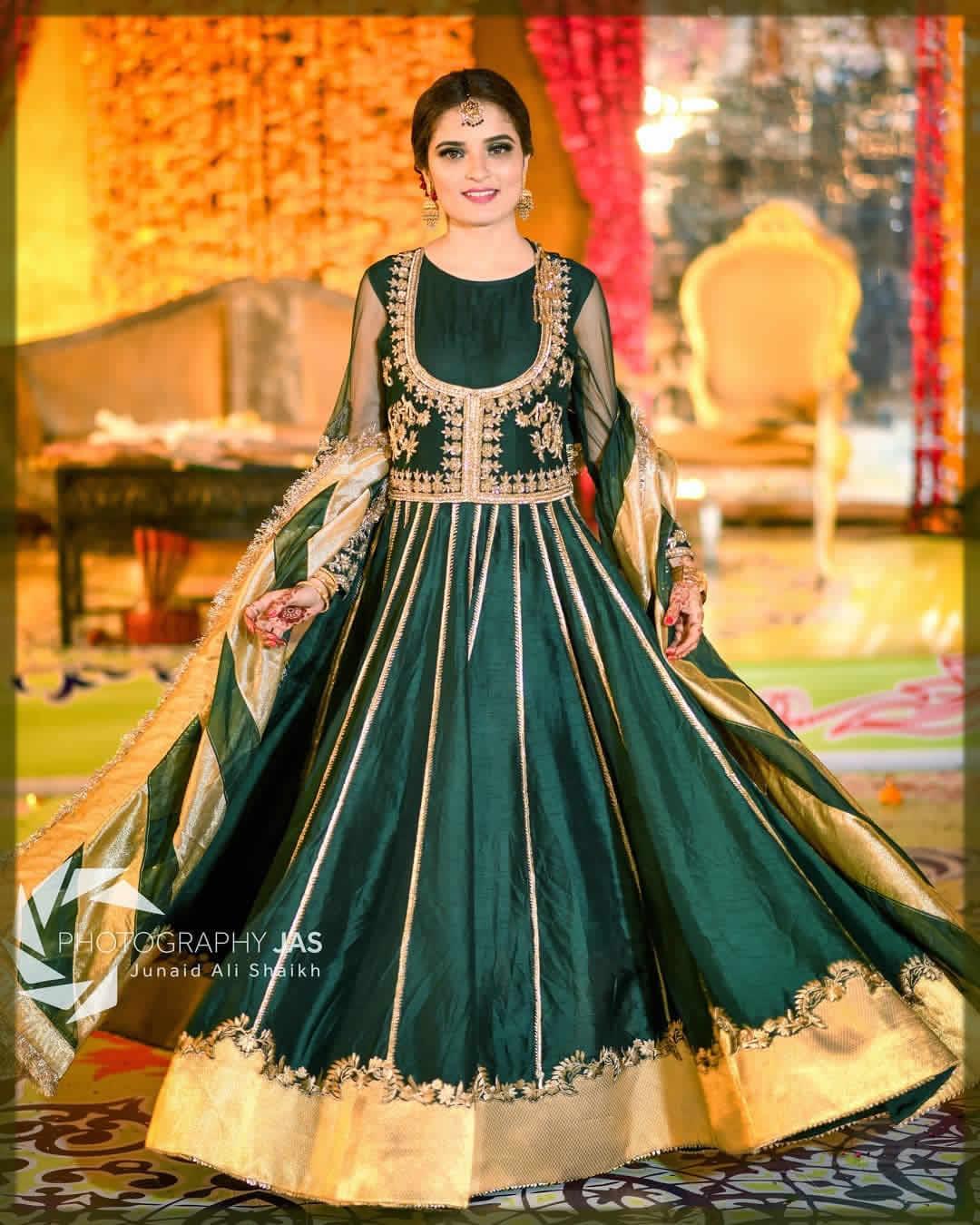green dress for mehndi for bride