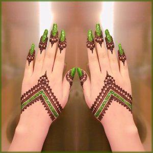green glitter mehndi design for bride