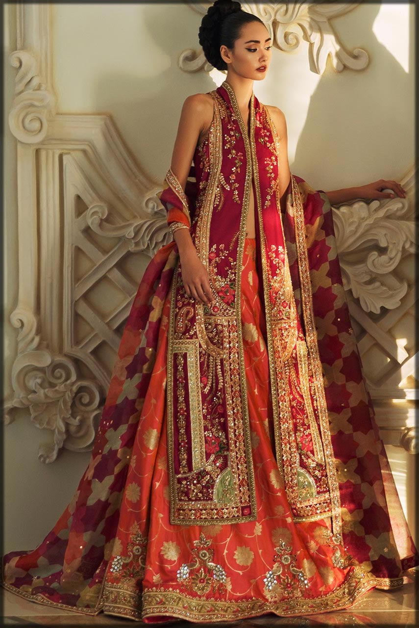 open shirt with lehenga for bride