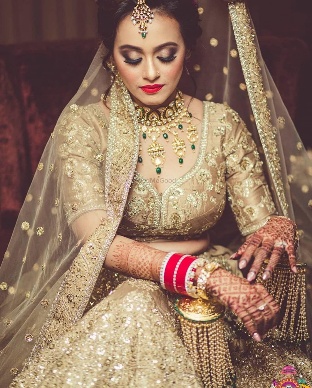 full golden indian wedding dress