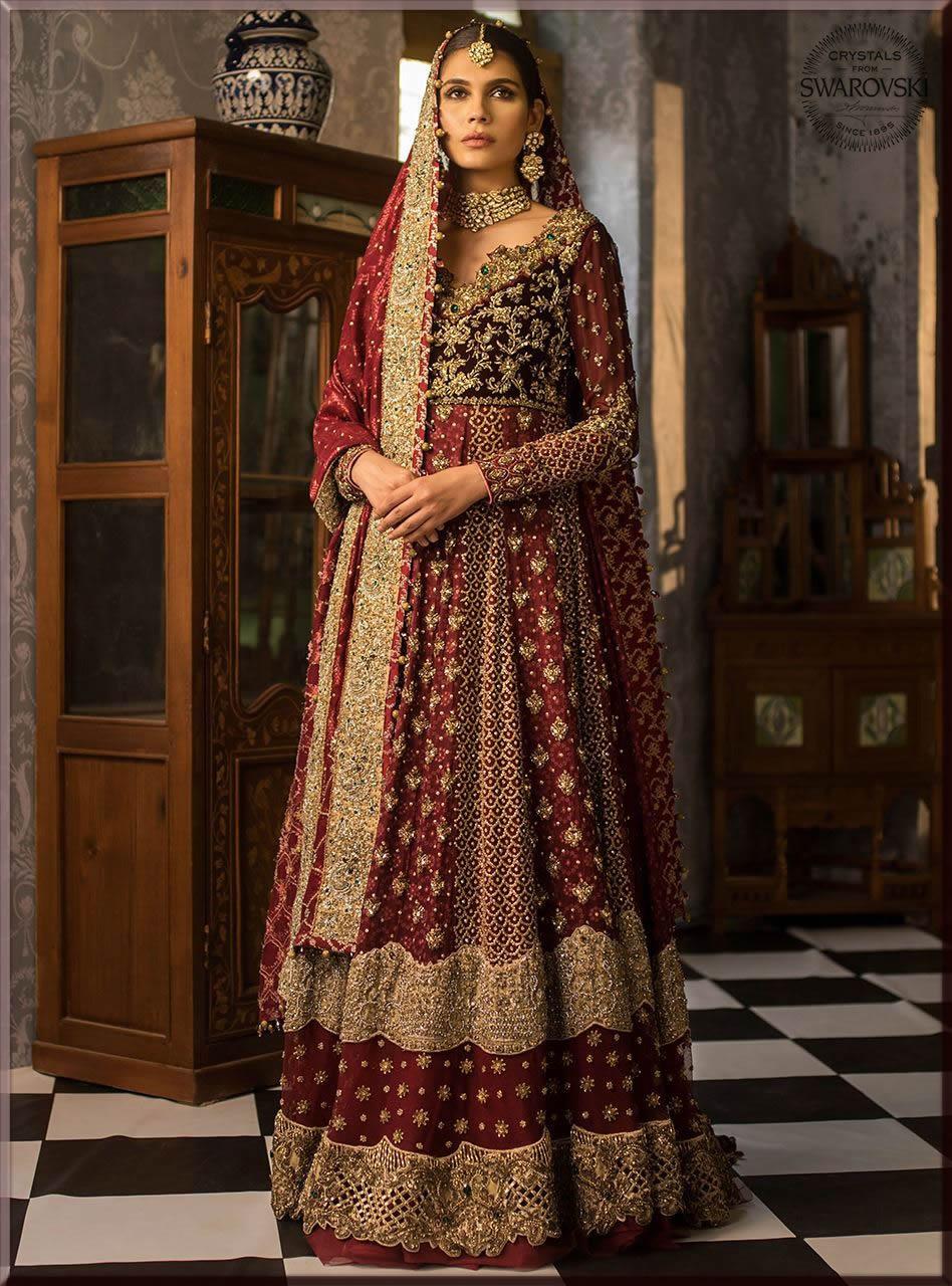 maroon lehenga for bride