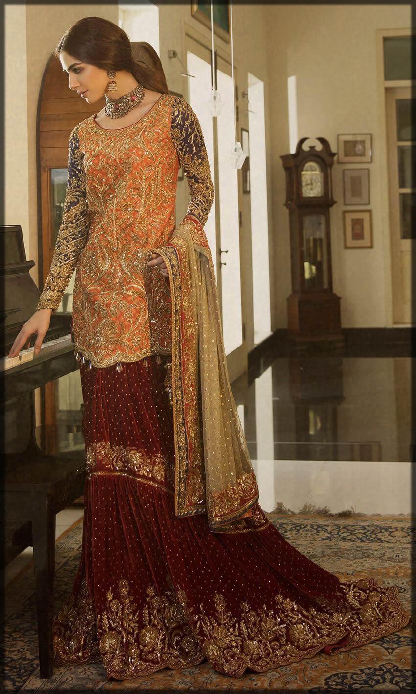 orange and maroon velvet sharara for bride
