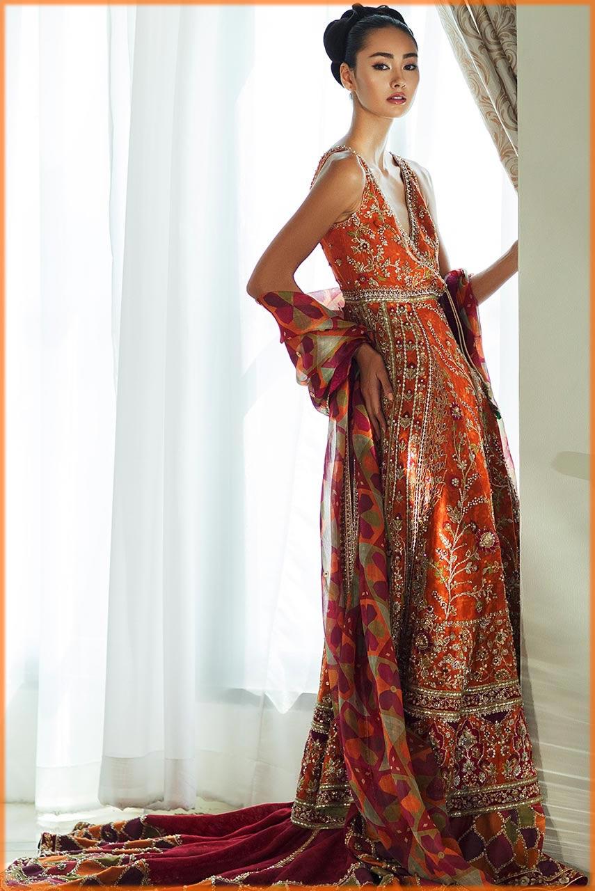 orange anarkali frock for bride