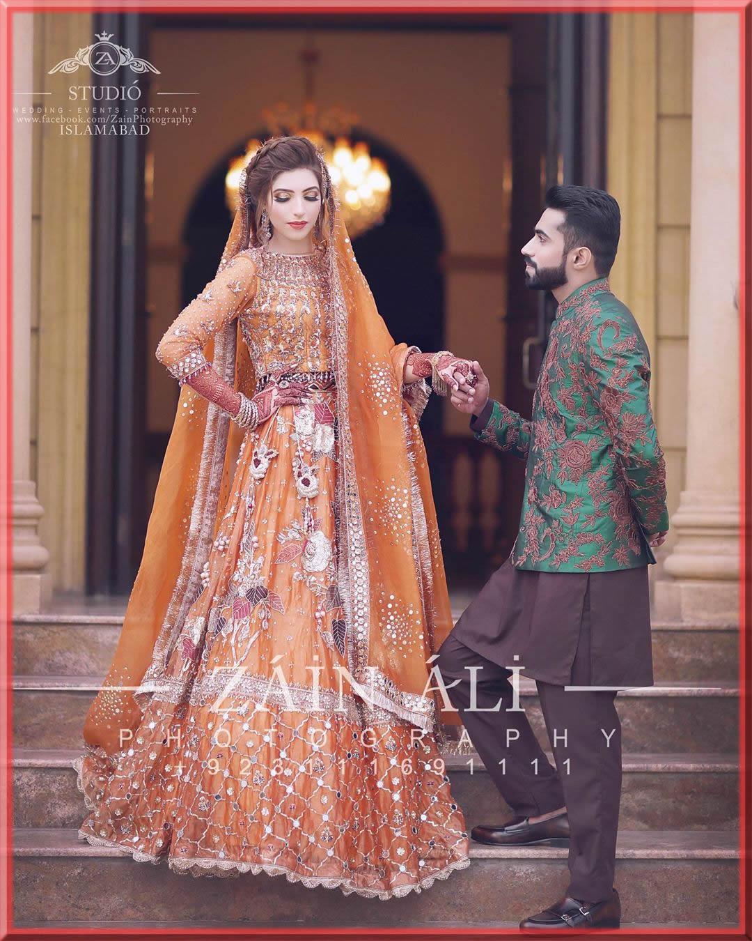 orange sheesha work bridal mehndi dresses