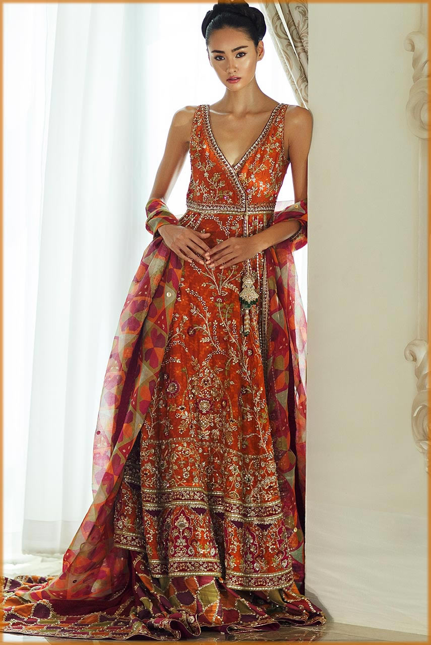 orange and mahroon combo for bride