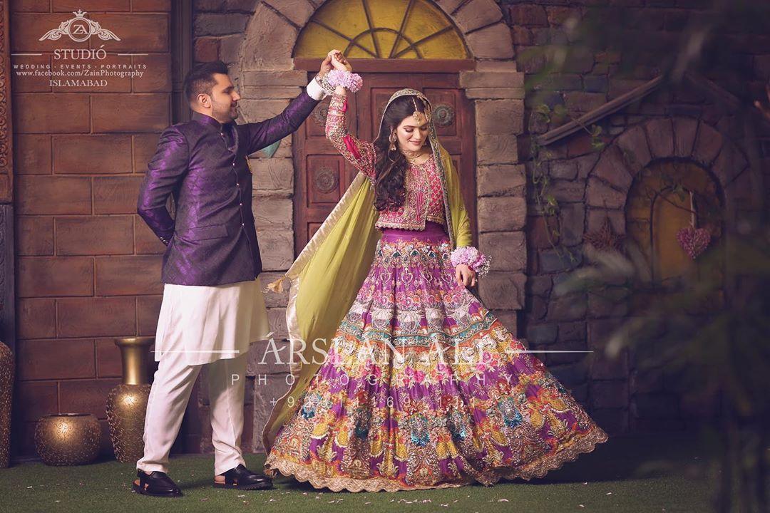 pink and olive lehenga dress for bridal