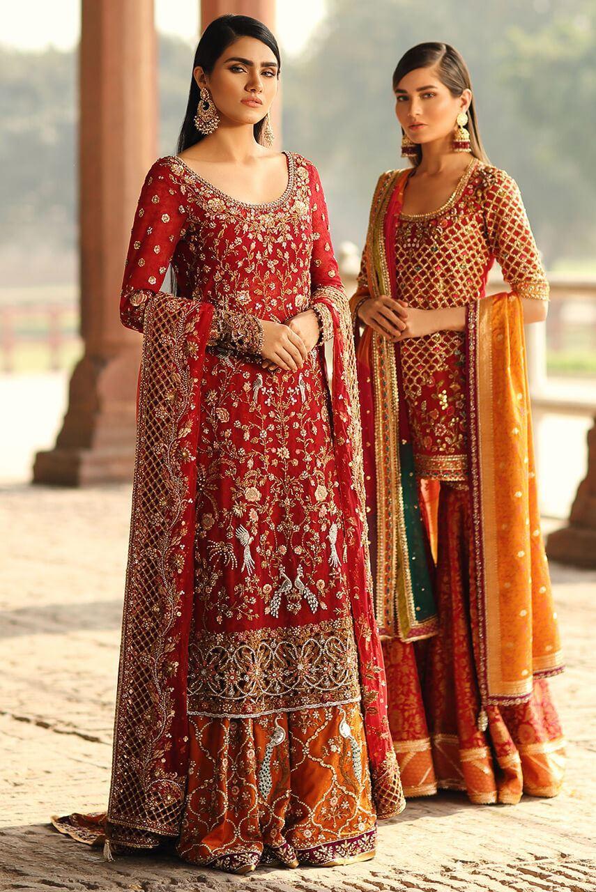 orange and red bridal barat dresses