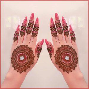 pink glitter mehndi design for bride