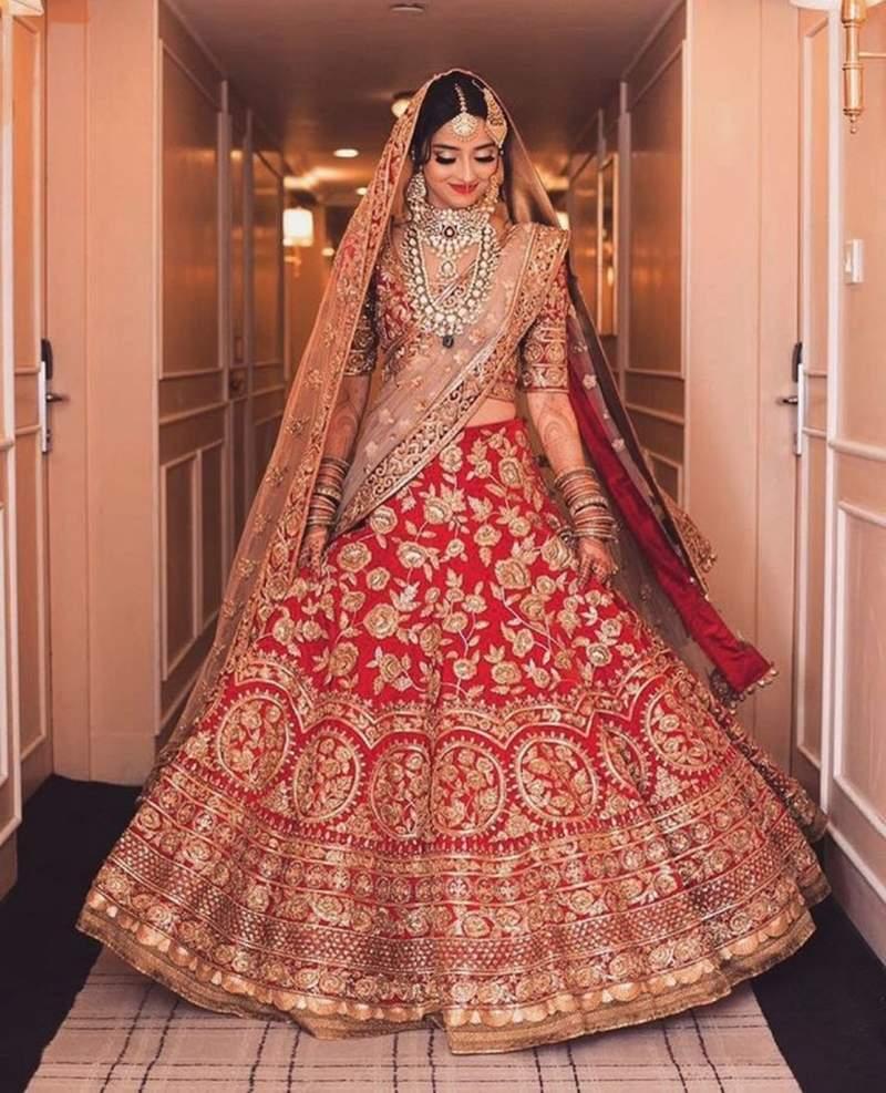 indian saree style red lehenga dress