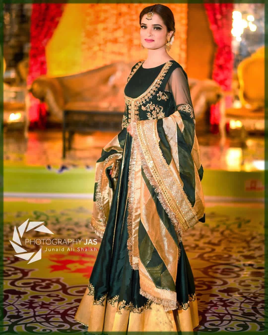 royal green long frock for mehndi