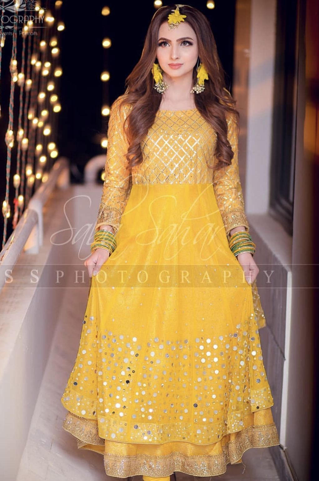 yellow frock for mayun bride