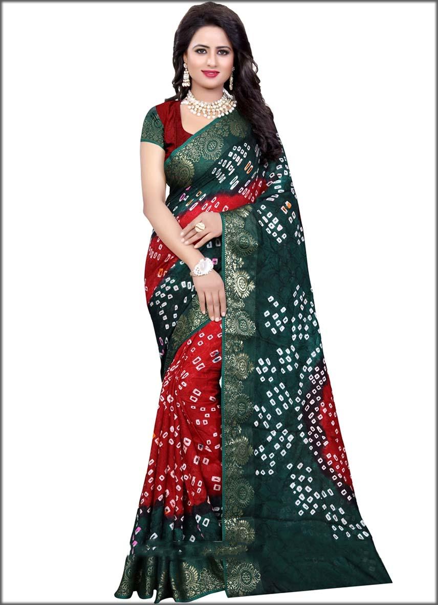 Art Silk bandhej Work Bandhani Saree In Green