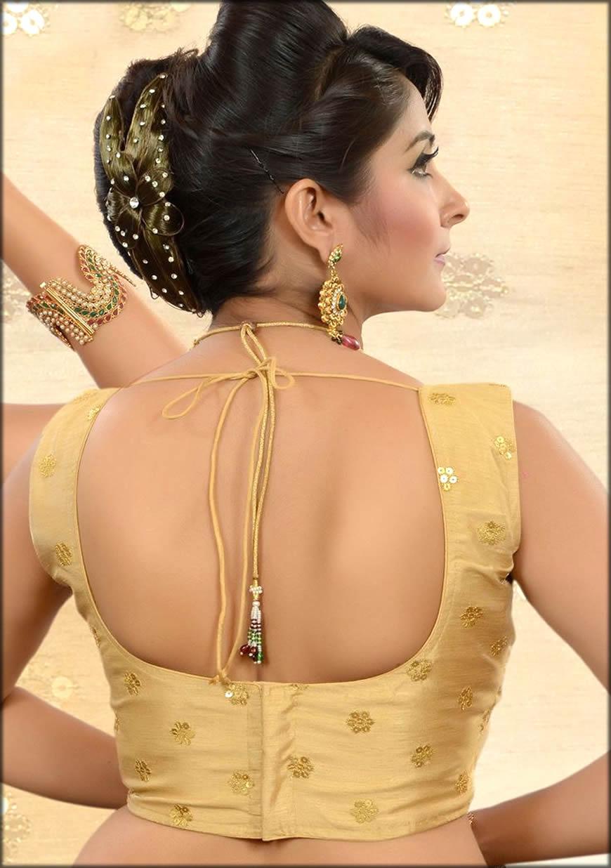Back Neck U Shape Blouse For Saree