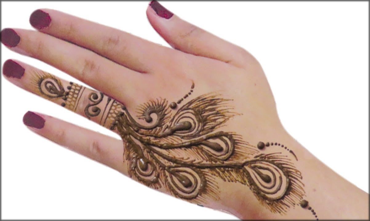 Back hand feather Indian Mehndi Designs