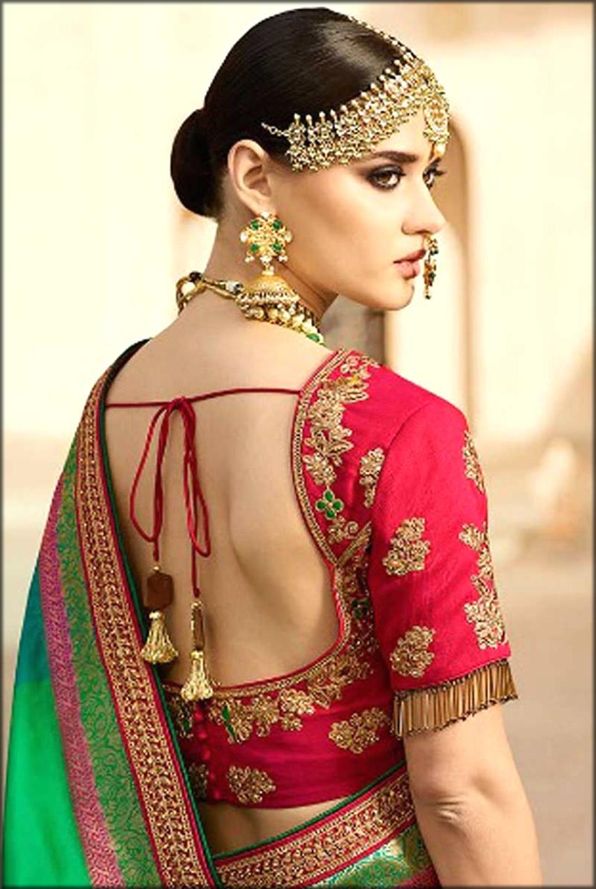 Banarsi Silk Saree With Back Knot Blouse