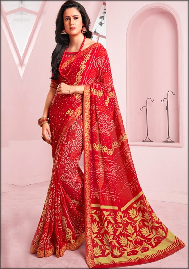 Bandhani Saree In Red Georgette