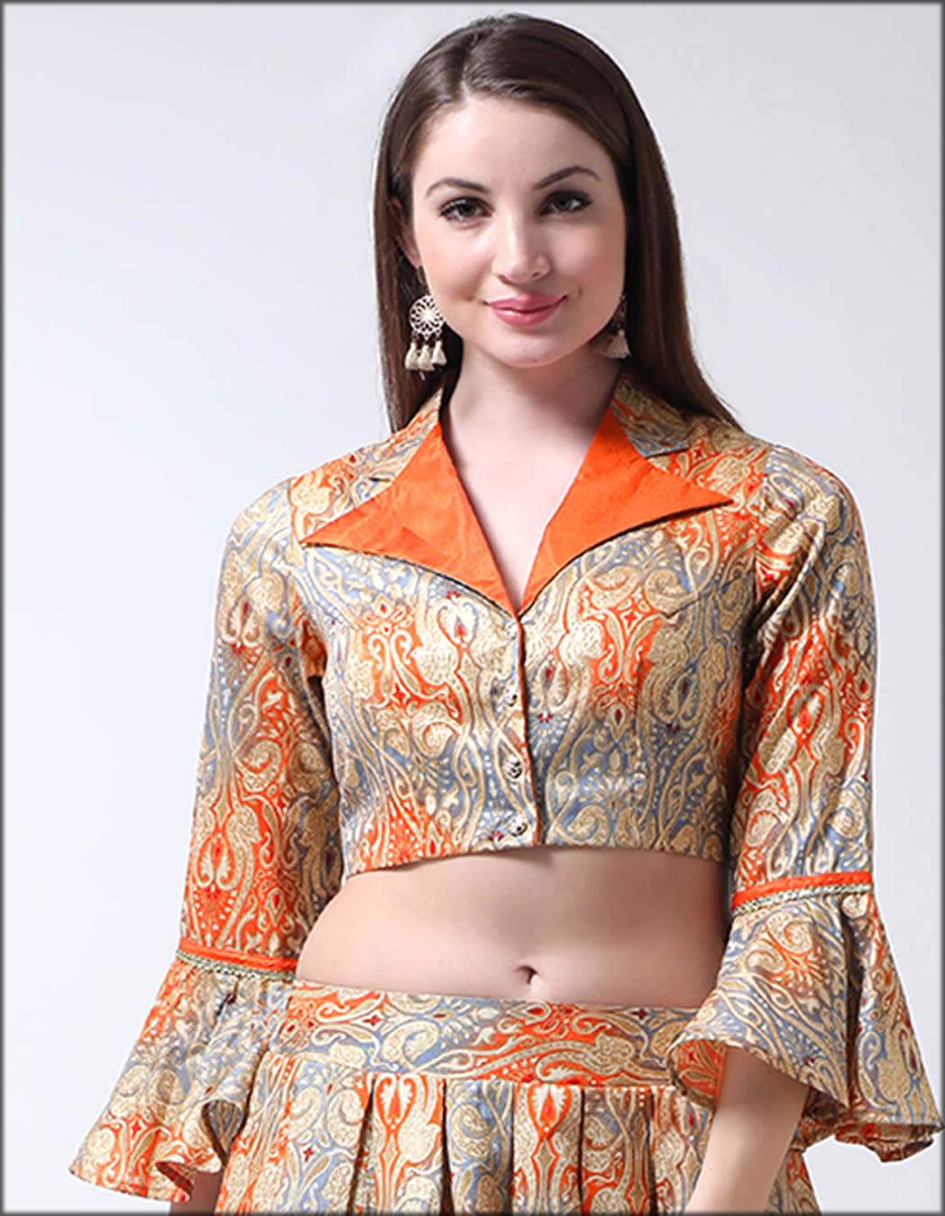Banglori Silk Saree Collar Blouse In Castle Grey Shirt
