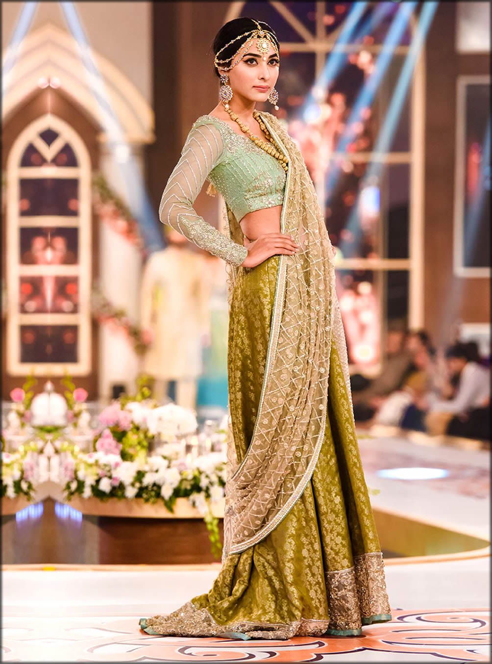 Beige Saree By Zainab With Criss cross Pattern