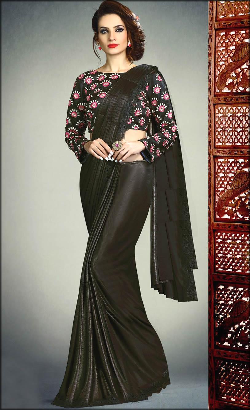 Black Lycra Latest Designer Saree