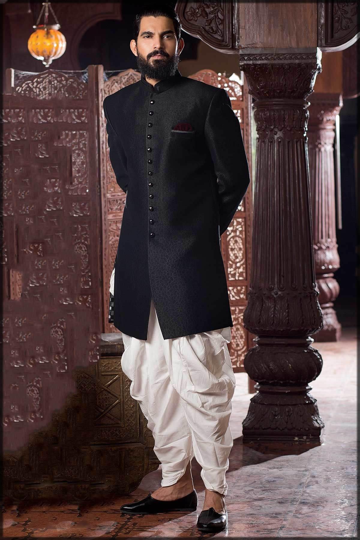 Black Silk wedding wear Jodhpuri Sherwani