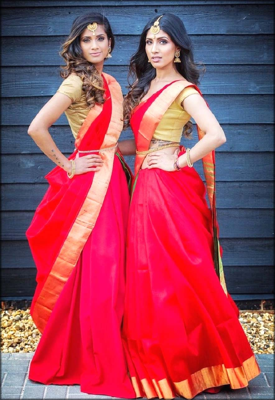 Cancan Saree In Pink Red