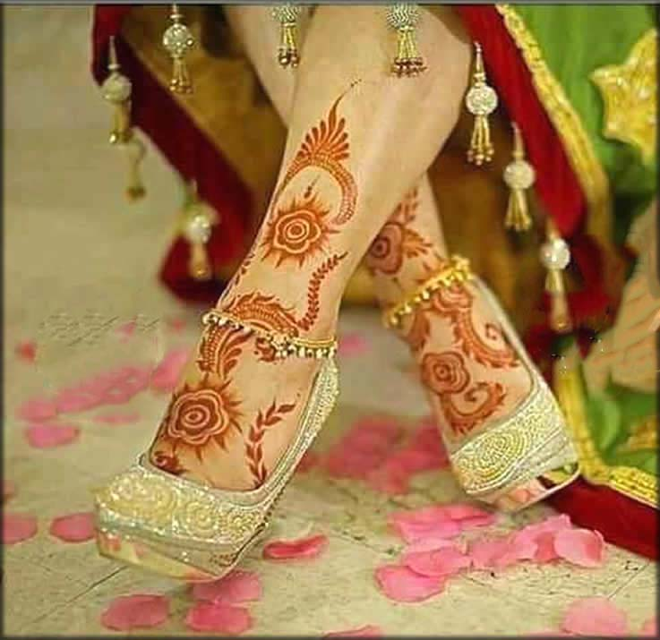 Charming Red Feet Mehndi Design