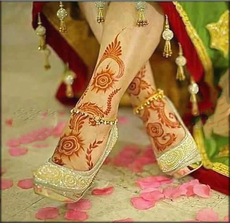 Charming Red Feet Mehndi Design
