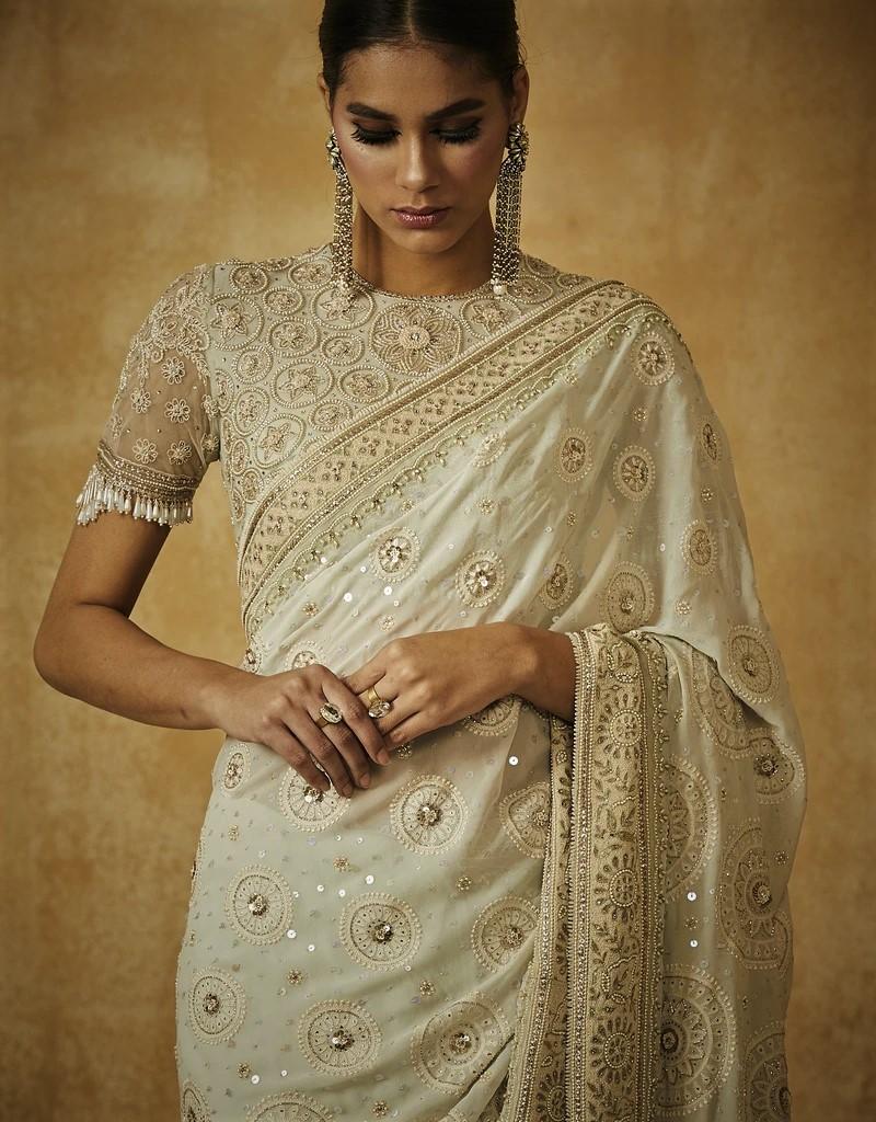 Chikankari Saree With Blouse And Petticoat