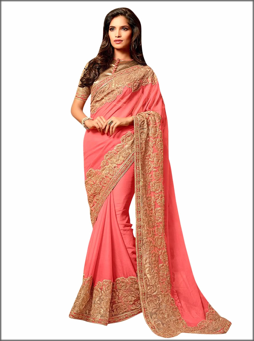 Coral Pink Latest Embroidered Saree