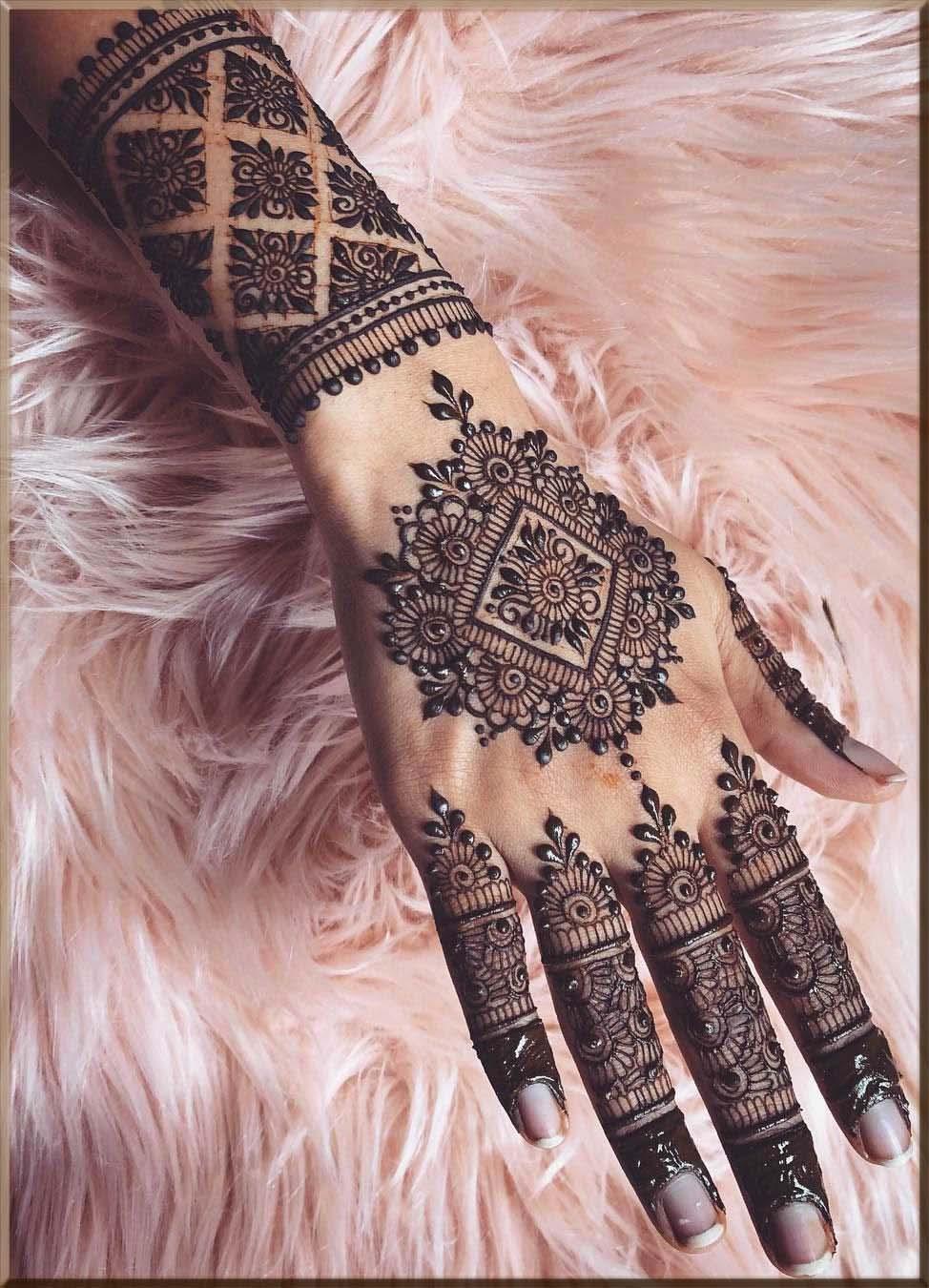 lavish diamond tikki henna design