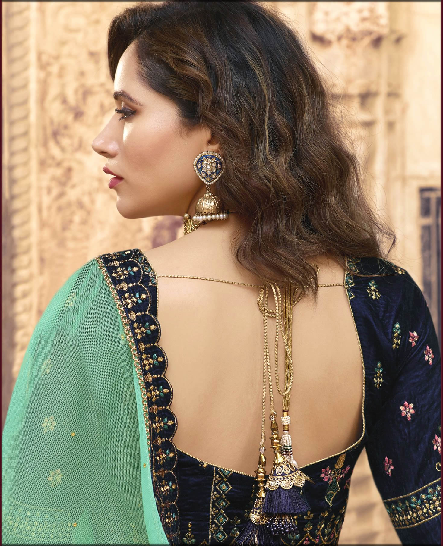 Embroidered Dark Blue Women Blouses Collection With Deep U Shape Design