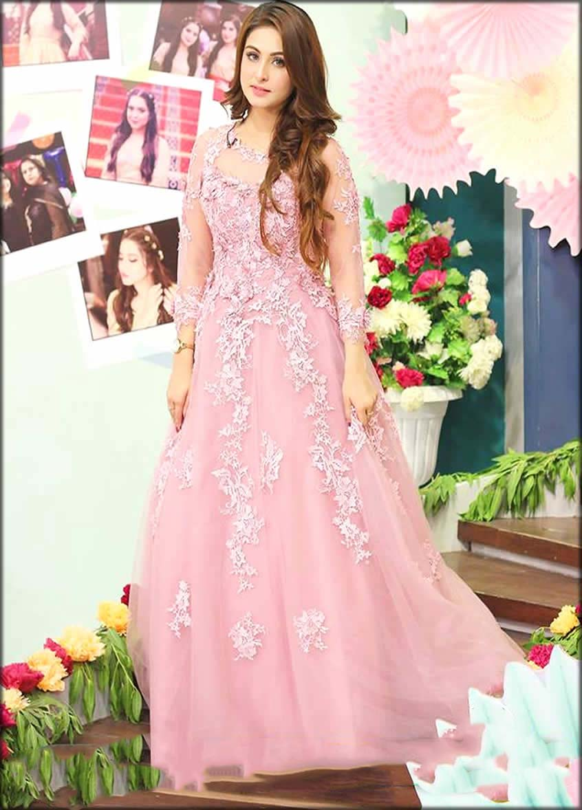 Embroidered Pink Gown For Bridal Shower
